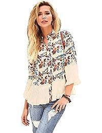420be21f775a5 VENCA Camisa pequeño Volante Fruncido en el Cuello Mao y Tapeta Mujer by  Ven - 016624