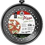 TOTALLY ADDICT KC2158 Plaque à pizza perforée Acier/Revêtement antiadhésif Noir  33,80 x 33,80 x 1,60 cm