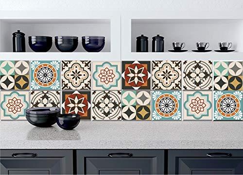 Sticker Tile Stickers Stairs Riser Decal Removable For Kitchen Bathroom Backsplash Decor Stairs Floor Wall Peel & Stick Vinyl Adhesive Tiles(Set 12 Units) (12 X 12 Vinyl Floor Tile)