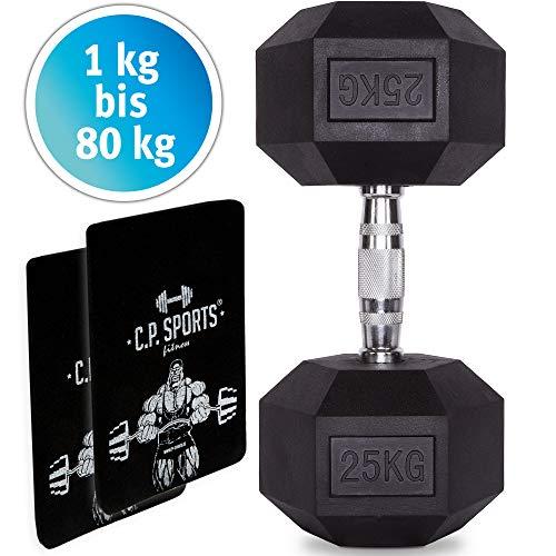 C.P. Sports Hexagon Hanteln gummiert 1-80 kg (Stück) - Dumbbell mit ergonomischen Chrom-Griff, Kurzhantel, Kurzhanteln, Dumbbel, rutschsicher (60 KG - STK.)