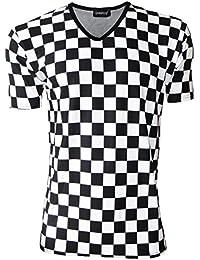 Carreaux imprimés Chess Board T-Shirt à col en V pour homme Motif ... 56695f90a9f5