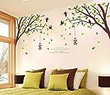 ufengke® Xlarge Grünen Garten Serie Grüne Bäume Zweige Birdcage Vögel Wandsticker,Wohnzimmer Schlafzimmer Entfernbare Wandtattoos Wandbilder, Set von 2 Blatt