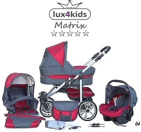 Chilly Kids Matrix II Kinderwagen Komplettset (Autositz & Adapter, Regenschutz, Moskitonetz, Schwenkräder) 04 Rot &