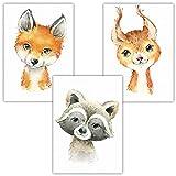 Frechdax® 3er Set Kinderzimmer Poster Kinderzimmer Deko Bilder | Schlichte Poster | Wasserfarben Illustrationen (3er Set Eichhörnchen, Fuchs, Waschbär)