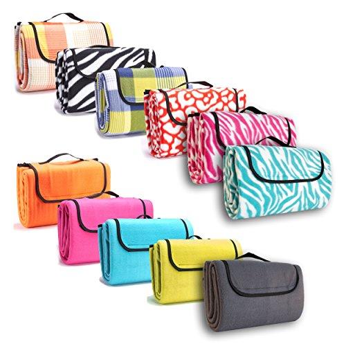 7dreams® Picknick-Decke 130x150cm Fleece Campingdecke Stranddecke Reisedecke Strand Matte Wasserabweisend - verschiedene Designs (Zebra-Muster)