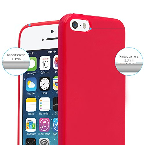 Cadorabo - TPU Ultra Slim Jelly Silikon Hülle für >            Apple iPhone 5 / 5S / SE            < - Case Cover Schutz-Hülle Bumper in JELLY-SCHWARZ JELLY-ROT