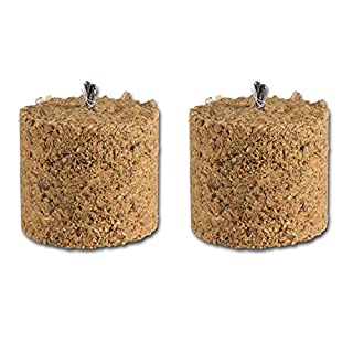 Wood-chip fuel elements for a garden torch, on a plug, set of 8