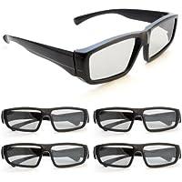 4er SET 3D-Brille für passive 3D TVs, PC-Spiele oder Kino RealD, Passivbrille (zirkular polarisiert) Farbe: schwarz - Marke Ganzoo