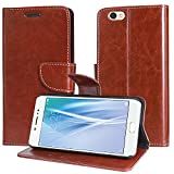 DMG Vivo V5s Flip Cover, Sturdy PU Leather Wallet Book Cover Case for Vivo V5s (Brown)
