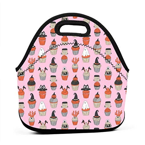 Bag,Halloween Cupcakes Fabric Cupcakes, Food, Sweets, Cute, Halloween, Ghost, Witch, Frankenstein - Pink for Kids Adult Thermal Insulated Tote Bags ()