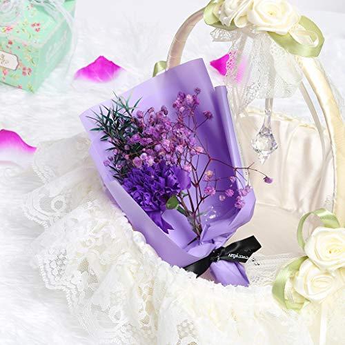 TianranRT❄Künstliche Blume,Kreative Nelke Blumenstrauß Mit Blumen Romantische Trockene Blume Seife Blume Geschenkbox Dekoration (Blau)