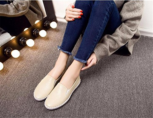 Casual Chaussures De Mode Feminine Bateau Glissement Decontracte Sur Appartements Mocassins Chaussures Simples De couleur creme
