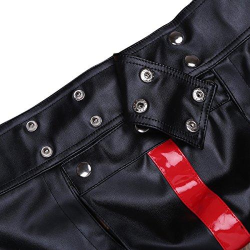 YiZYiF Glänzend Herren Boxershorts Unterwäsche Unterhosen Wetlook Hose Slip Shorts Wäsche Männer Badehose S-XXL Schwarz + Rot