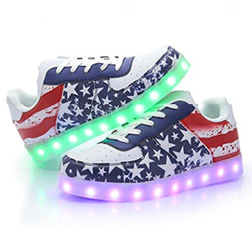 Oasap Women's USB Charging Light Up LED Luminous Sneakers Multicolored
