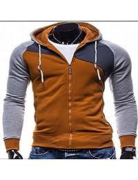 ZHAOWM capucha encapuchado chaqueta con sombrero Hombres Primavera Otoño Invierno Cremallera Patchwork Sudadera Delgada Moda Casual