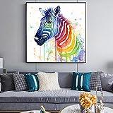 Wieoc Aquarell Zebra Leinwandbilder Wohnkultur Abstrakte Tiere Wandposter Und Drucke Bunte Tierbilder Für Kinderzimmer 60X60 cm