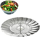 "COOKSET of BangShou Vegetable Steamer Basket - Foldabe Stainless Steel Food Cooking Steamer Insert (Size 5.5"" to 9"")"