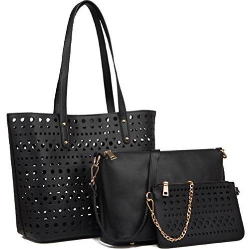 Honeymall Frauen PU Leder Handtaschen Set 3 teiliges Damen Handtaschenset Elegante Vintage Style Leder Crossbody hohl Tasche Handgelenktasche(Schwarz)