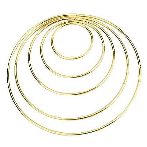 eBoot Set von 5 Stück Gemischte Metall Hoops Metall Ringe für Traumfänger, 2 Zoll, 3 Zoll, 4 Zoll, 5 Zoll, 6 Zoll (Gold)