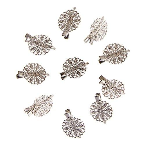 10pcs Pince Crocodile Cheveux Fleur Barrette Epingle pour Accessoire Cheveux Diy - Argenté , XXL