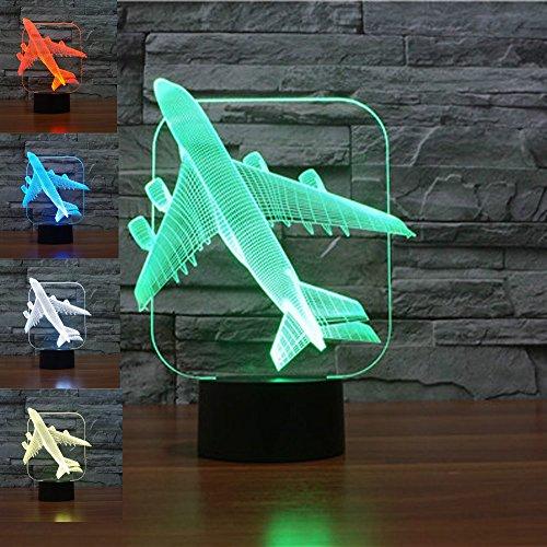 3D Illusion Avión Lámpara luces noche
