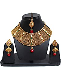 Lucky Jewellery Designer Maroon Green Color Gold Plated Copper Necklace Set For Girls & Women