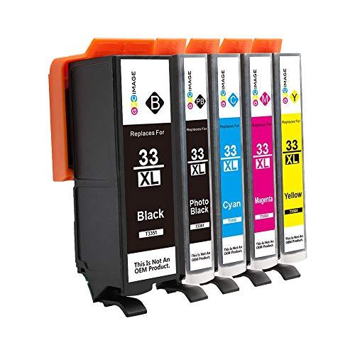 GPC Image 5 Patronen Ersatz für Epson 33XL 33 XL Druckerpatronen Kompatibel für Epson Expression Premium XP-530 XP-540 XP-640 XP-830 XP-900 XP-630 XP-635 Tinte,Schwarz/Photo Schwarz/Cyan/Magenta/Gelb