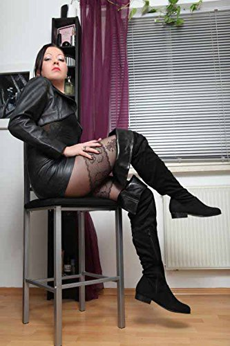 Erogance Low Blockabsatz Stiefel Kunstwildleder Overknees, Bottes pour Femme Noir