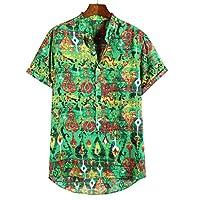 Lazzboy Men Shirt Top Plus Size Multicoloured Colour Print Plus Size Graffiti Short Sleeve Buttons Loose Blouse(XL,Green-Ethnic)