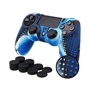 DSstyles Silikon Hülle Schutzhülle für DualShock 4 PS4 Controller Schutzhülle Abdeckung Anti Slip Silikon Abdeckung mit Daumen Griffe – Camouflage Blau