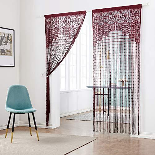 Taiyuhomes Classic Warp Stricken String Vorhang für Home Decor und Trennwand mit Ornament Nachahmung Acryl Perlen Design perfekt, wie Fliegengitter, Polyester, weinrot, W90xL220cm(35x87)