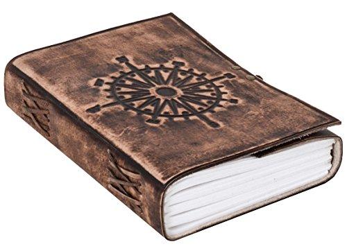 "Notizbuch Gusti Leder \""Sola\"" DIN A5 Lederbuch Notizblock Buch Tagebuch Skizzenbuch Lederaccessoire Fotobuch Reisetagebuch Rezeptbuch Kompassrose dunkelbraun 2P45-24-23"