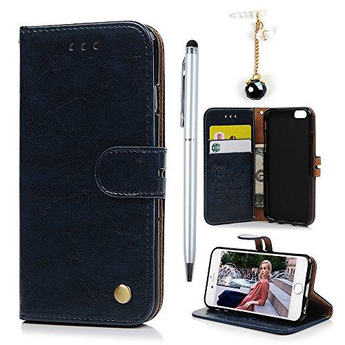 Badalink Hülle für iPhone 6 / iPhone 6s Rot Handyhülle Leder PU Case Cover Magnet Flip Case Schutzhülle Kartensteckplätzen und Ständer Handytasche mit Eingabestifte und Staubschutz Stecker Blau
