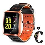 TECKEPIC Fitness Armband, Aktivitäts-Tracker Modell N88 mit Farbbildschirm, Herzfrequenzsensor, Schlafmonitor, Kalorienzähler, Sportmodus (Schwarz rot+freies schwarzes Band)