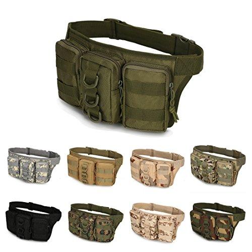 A-szcxtop Multifunktions Tactical Toolkit mit 3verbunden Taschen Taille Pack für Outdoor Sports, Laufen, Wandern, Klettern, Camping und CS Army Grün