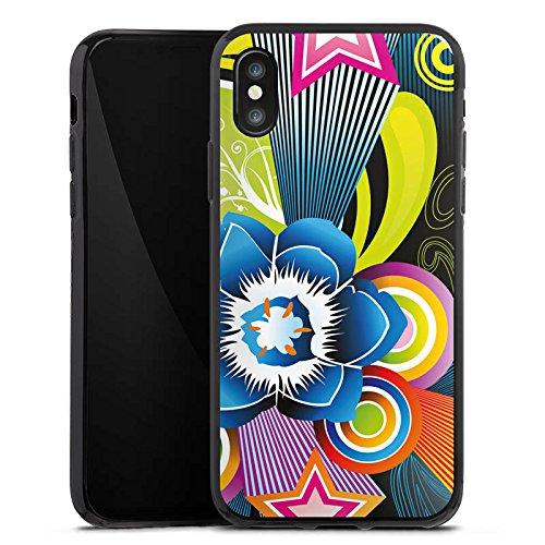 Apple iPhone X Silikon Hülle Case Schutzhülle Ornamente Flower Bunt Silikon Case schwarz