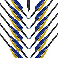 MEJOSER Bogen und Pfeile Carbon Pfeile für Bogenschießen mit Naturfedern, Jagdpfeile für Bogen, Recurvebogen, Langbogen und Traditionellen Bogen
