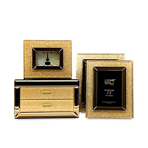 Boîte à Bijoux en Verre Bijoux Cadeaux de mariage européen fort,double+6+7 pouces d'or po+réveil