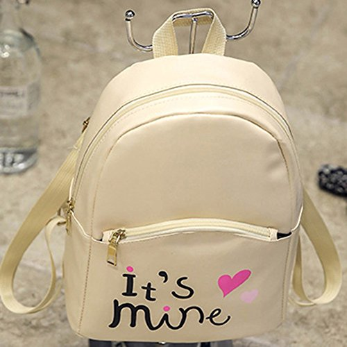 Bizarre Vogue Cute Medium It's Mine Printed Style Backpack College bag for Girls (Cream,BV1210) Image 5