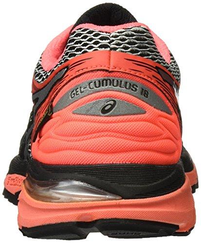 Asics Damen Gel-Cumulus 18 Laufschuhe Mehrfarbig (Black / Silver / Flash Coral)