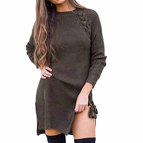 LSAltd Damen Herbst und Winter Strickkleid, O Neck Langarm Pullover Kleid (Armee Grün, M) (Kragen-polyester Acryl)