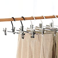 HJHY Heavy Duty Metal Pants Skirt Slack Hangers with 2-Non-slip Adjustable Clips, With Rubber Protective Cover- Never Bend and Rust Resistant 10-Pack
