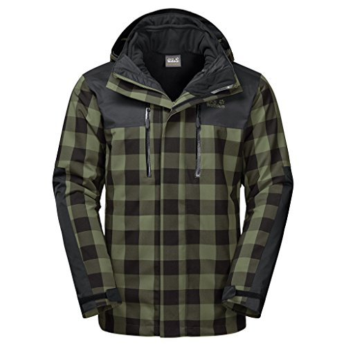 Preisvergleich Produktbild JACK WOLFSKIN Herren 3in1-Jacke TIMBERWOLF MEN, woodland green checks, XXL, 1109581-7825006