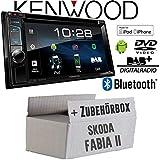 Skoda Fabia 2 - Autoradio Radio Kenwood DDX4018DAB - 2DIN Bluetooth | DAB+ Digitalradio | DVD | USB | CD | MP3 - Einbauzubehör - Einbauset