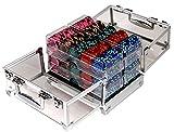 Bullets Playing Cards Profi Pokerset mit 600 Clay Designer Pokerchips 14g in Acrylkoffer Premium Set für Professionelle Cash Games
