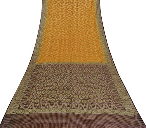 Vintage Indian verwendet Saree 100% Seide gewebt ethnischen Handwerk Stoff Orange Sari 5 Yards -