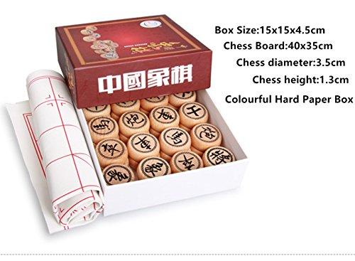 FunnyGoo Chinesisches Schach Beechwood Xiangqi chinesisches Schachspiel (3,5 cm Durchmesser, mit bunten Hartpapier-Box)
