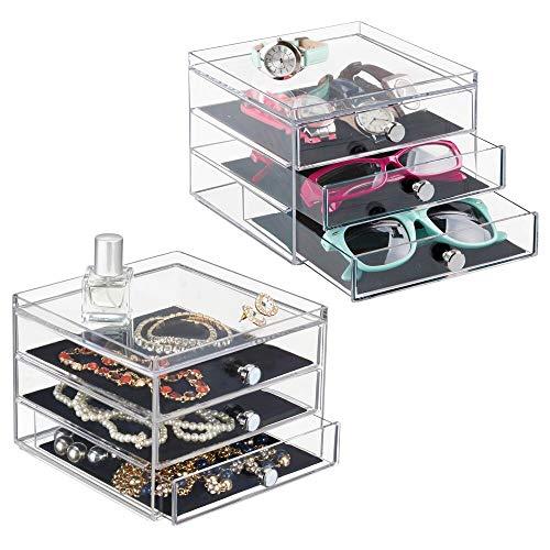 mDesign Schubladenbox - die Aufbewahrungsbox mit DREI Schubladen, beispielsweise als Schmuck Organizer - 2er-Set -