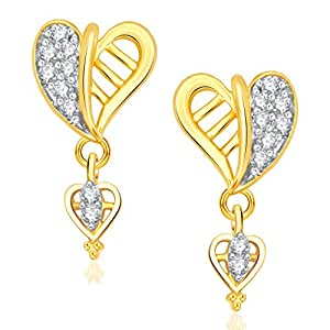 Vk Jewels Valentine Heart Collection Gold Brass Alloy Cz American Diamond Earring for Women Vker1402G