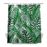 Tropischen Pflanzen Banana Leaves Badezimmer Vorhänge, 100% wasserdicht und Mehltau, mit 12 Duschvorhang Haken